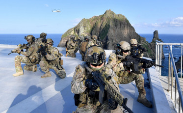 The South Korean Armed Forces hold an exercise, on August 25, 2019, to defend the islets of Dokdo, the easternmost in the country. The Japanese Government has moved a formal protest to South Korea over the military exercises: