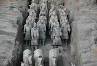 XI'AN, CHINA. - In the photos released on December 13, 2019, the warriors who are in the Qinshihuang Emperor's Mausoleum Site Museum in Xi'an, capital of Shaanxi Province, northwestern China. The Mausoleum of Emperor Qinshihuang and the Terracotta Warriors were included in the list of World Heritage by UNESCO in 1987.