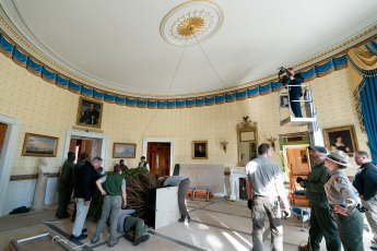 WASHINGTON DC, UNITED STATES. - In the photos released today December 2, 2019, the arrival of the White House Christmas Tree is observed and placed in the Blue Room of the White House. The tree was cultivated by the Snyder family of Mahantongo Valley Farms in Pitman, PA.