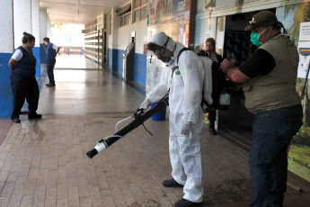 BRASILIA, BRAZIL- Health members carry out disinfection tasks as a preventive measure against the coronavirus in Brasilia, Brazil on April 7, 2020. Brazil reported that 114 people died in the last 24 hours, the highest number of deaths in a single day . In total, deaths from Covid-19 are 667, and those infected reached 13,717, according to data from the Ministry of Health.