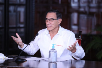 LIMA, PERU- President Martín Vizcarra reports on the measures adopted by the Government in the framework of the national state of emergency for the coronavirus (covid-19) in Lima, Peru on April 7, 2020. The Government of Peru has declared the